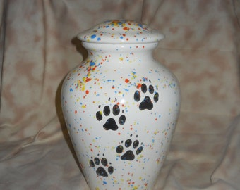 Large spotted dog cremation urn,  Ceramic jar with lid,urn, Jar with lid,large Dog urn, large jar, art pottery, handmade