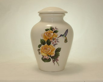 Yellow Roses with Hummingbird Ceramic Jar with Lid, Large Cremation Urn, Adult Urn, Human Ashes Urn. large jar, art pottery, handmade