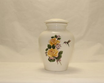 Hummingbird with Yellow Roses Cremation Urn Ceramic Jar with Lid, Small Pet Urn, Small Urn, Baby Urn, Small Art Pottery,Handmade Ashes Urn