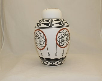 Native American Urn Ceramic Jar with Lid, Adult Cremation Urn for Ashes, art pottery, handmade
