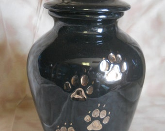 Ceramic Jar with Lid, Gloss Black with gold paws Dog Ashes Urn, Medium Prt Cremation urn, art pottery, handmade