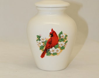 Small Cremation Urn with Cardinal and Dogwood, Keepsake Urn, Baby Urn, Infant Urn. Handmade small Pet Urn