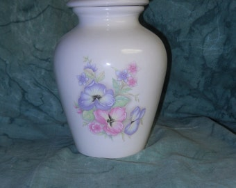 Ceramic jar with lid,urn,pansy on white Jar with lid,Small urn, Small jar, art pottery, handmade