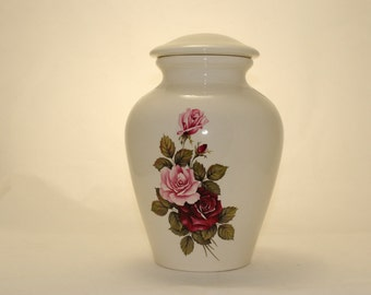 Pink & Burgundy Roses Ceramic Jar with Lid, Adult Cremation Urn, Large Cremation Urn, Large Urn for Ashes, Art Pottery, Handmade Funeral Urn