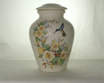Ceramic Jar with Lid, Large Cremation Urn,Hummingbird and Yellow Flowers Adult Urn, Human Ashes Urn. art pottery, handmade