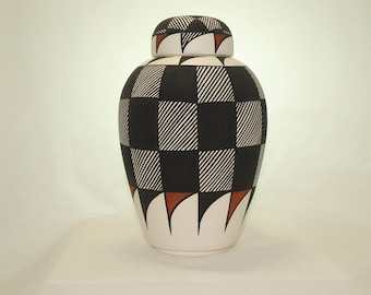 Native American Urn Ceramic Jar with Lid, Adult Cremation Urn, Large Cremation Urn, large jar, Native American Art Pottery, Handmade Urn