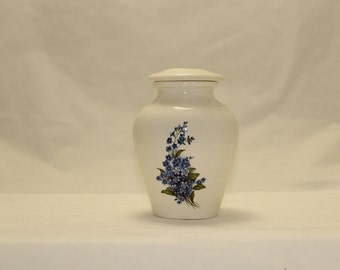Cremation Urn,Ceramic Jar with Lid, Forget Me Nots ,Keepsake urn,Small Jar with Lid, Tiny jar,Cat Urn, Small Dog Urn, Art Pottery, handmade