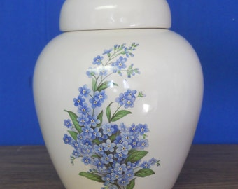 Forget Me Not Flowers Cremation Urn, Ceramic Jar with Lid. Small Urn, Small Ginger Jar.  Small Cremation urn,  jar, art pottery, handmade