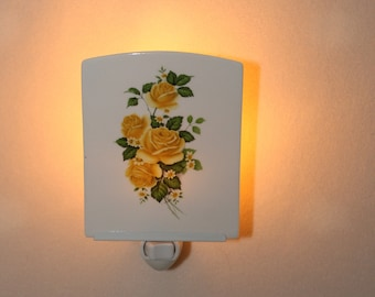 "Yellow Roses on Porcelain Memorial Night Light, Remembrance Light, Memorial Gift, Decorative Nightlight, 3.75"" x 4.5"""