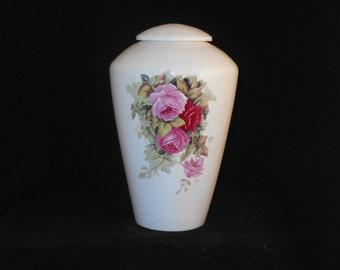 Pink  Roses Adult Cremation Urn, Ceramic Jar with Lid, Large Urn for Human Ashes. large pet urn, art pottery, handmade funeral urn