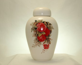 Adult Cremation Urn for Human Ashes, Red Roses Large Cremation Urn, Large Ceramic Ginger Jar with Lid, Large Pet Urn, Art Pottery, Handmade