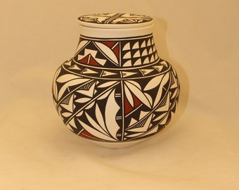 Native American Adult Cremation Urn for Human Ashes, Large Ceramic Jar, Hand Painted Art Pottery Memorial Urn