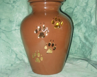Large Brown with gold paws Ceramic jar with lid,urn, Jar with lid,large Dog urn, large jar, art pottery, handmade