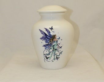 Large Cremation Urn with Fairy and Butterfly, Adult Urn, Human Ashes Urn. large jar, art pottery, handmade