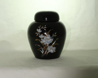 Cremation Urn with Gold and White on Black , Ceramic Jar with Lid, Pet Cat or Dog Small Urn for Ashes, Keepsake Urn, Art Pottery, handmade