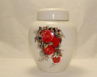 Red Roses Cremation Urn, Ceramic Jar with Lid, Large Ginger Jar, Adult Urn for Ashes, Large Pet Urn, Art Pottery, Handmade Funeral Ur