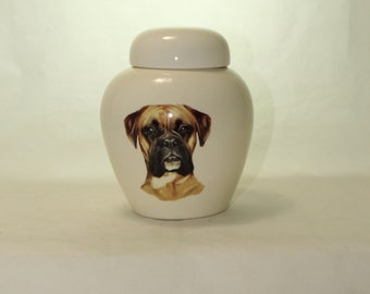 Boxer Cremation Urn, Ceramic Jar with Lid, Pet or Dog Small Urn for Ashes, Keepsake Urn, Art Pottery, handmade