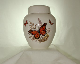 Orange Butterfly Adult Cremation Urn, Large Ceramic Ginger Jar with Lid, Urn for Human Ashes, Handmade Art Pottery