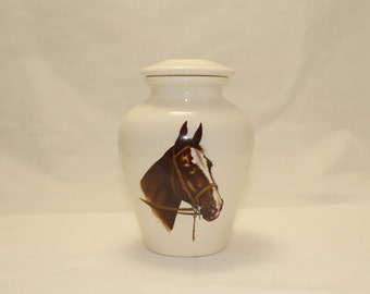 Ceramic Jar with Lid Horse Head on Small Cremation Urn, Small jar, art pottery, handmade