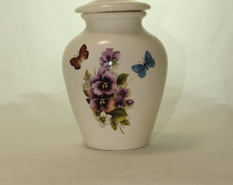 Purple Pansy and Butterfly  Ceramic Jar with Lid, Small Cremation Urn, Keepsake Urn, Baby Urn, Infant Urn. Handmade small Pet Urn