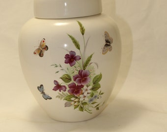 Purple and orchid pansy with butterflies Cremation Urn, Large Ceramic Jar with Lid, Funeral Urn for Human Ashes