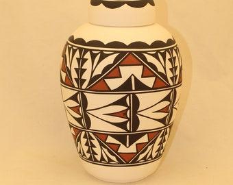 Native American Urn Ceramic Jar with Lid, Adult Cremation Urn for Human Ashes, large Cremation Urn, large jar, art pottery, handmade