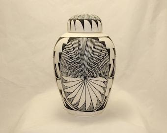 Native American Urn Ceramic Jar with Lid, Adult Cremation Urn, Large Cremation Urn, large jar, Native American Art Pottery, Handmade Urn