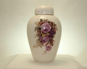 Adult Cremation Urn with purple Roses, Large Ceramic Jar with Lid, Urn for Human Ashes, Large Ginger Jar, large Urn, Art Pottery, Handmade