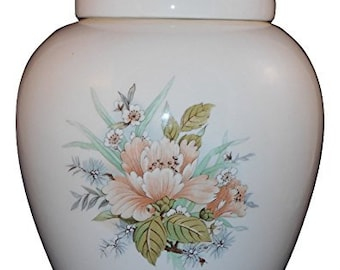 Peach Flower Cremation Urn, Ceramic Jar with Lid, Pet Cat or Dog Small Urn for Ashes, Keepsake Urn, Art Pottery, handmade