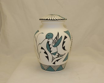 Native American Ceramic Adult Cremation Urn, Hand Painted Large Cremation Urn, Native American Art Pottery, Handmade Ashes Urn