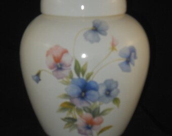 Pansy Cremation Urn, Ceramic jar with lid,urn Jar with lid,  jar, art pottery, handmade