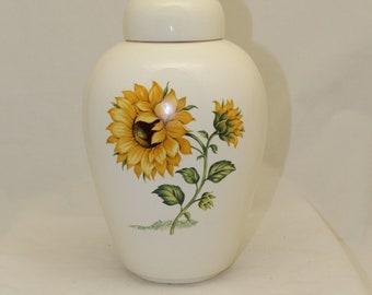 Adult Cremation Urn with Sunflower, Large Ceramic Container with Lid, Large Urn for Ashes, Art Pottery, Handmade Urn