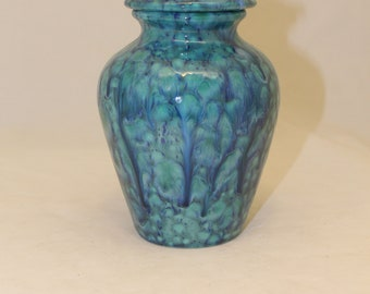 Peacock Blue Small Cremation Urn, Small Pet Urn, Cat Urn, Sharing Urn, Small Jar with Lid, Art Pottery, Handmade Urn