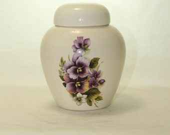 Purple Pansy Cremation Urn, Ceramic Jar with Lid, Pet Cat or Dog Small Urn for Ashes, Keepsake Urn, handmade