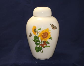 Cremation Urn, Sunflower with Butterflies, Adult Urn, Ceramic Jar with Lid, Urn for Ashes, large urn, large jar, art pottery, handmade