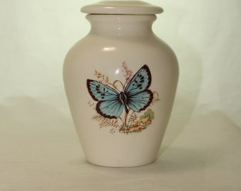 Butterfly Ceramic Jar with Lid, Small Cremation Urn, Keepsake Urn, Baby or Infant Urn, Cat or Small Dog Handmade small Pet Urn