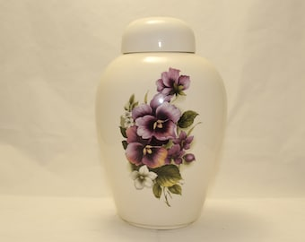 Pansy Ceramic Jar with Lid, Adult Cremation Urn, large urn, large jar, art pottery, Handmade Ceramic Ginger Jar, Art Pottery