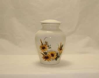 Sunflower Ceramic Jar with Lid, Small Cremation Urn, Small Pet Urn, Cat Urn, Dog Urn. Small Child Urn, Urn for Ashes, Art Pottery, Handmade