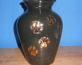 Black with Gold paws Ceramic Jar with Lid Dog Urn,  Medium Cremation Urn, Dog Ashes Jar, Art Pottery, Handmade