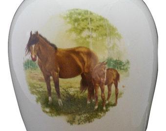 Horse & Colt Adult Cremation Urn, Large Ceramic Jar with Lid, Large Urn for Ashes, Large urn, Large Funeral Urn, Art Pottery, handmade