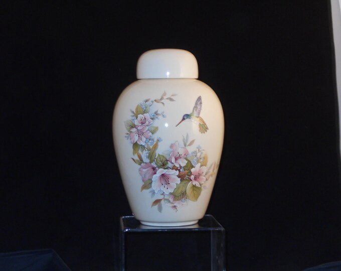Featured listing image: Pink  flowers with Hummingbird Cremation Urn, Adult Cremation Urn, Large Ceramic Jar with Lid, Large Urn for Ashes,Art Pottery, Handmade Urn