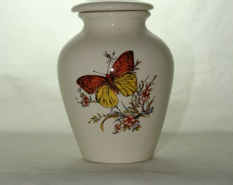 Butterfly Cremation Urn, Jar with lid, Small Urn, Baby or Infant Urn, Pet Urn,Cat Ashes Urn, art pottery, handmade