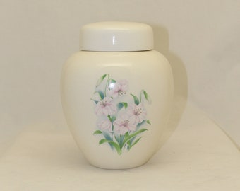 Adult Cremation Urn For Human Ashes, Lilly Design Ceramic Jar with Lid, Art Pottery, handmade