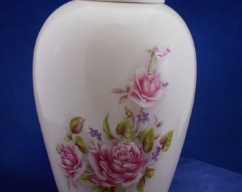 Pink  Roses Cremation Urn Ceramic Jar with Lid. Adult Urn,Large Cremation Urn,Urn for Ashes. large jar, art pottery, Handmade Funeral Urn