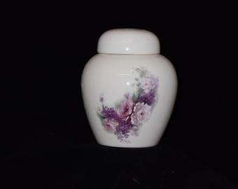 Cremation Urn, Ceramic jar with lid,urn Jar with lid,  jar, art pottery, handmade, Pink roses & orchid flowers