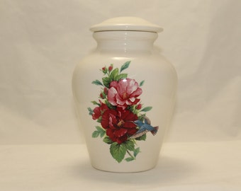 Hibiscus with Hummingbird Cremation Urn, Ceramic Jar with Lid, Medium Cremation Keepsake Urn, Jar for Ashes, Pet Urn. Art Pottery, Handmade
