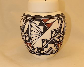 Native American Hand Painted Adult Cremation Urn, Human Ashes Urn in Terra Cotta and Black on White, Art Pottery, Handmade Urn