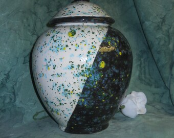 Black and White Cremation Urn, Extra Large Ceramic Jar with Lid, Urn for Human Ashes, Extra Large Urn, Funeral Urn, Art Pottery, handmade