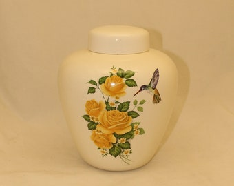 Hummingbird and Yellow Roses Adult Cremation Urn for Human Ashes, Extra Large Jar with Lid, Large Funeral Urn, Large Pet Urn, Handmade Urn