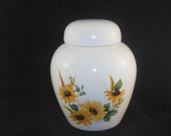 Sunflower Cremation Urn, Ceramic Jar with Lid, Pet Urn, Cat Urn, Dog Urn, Small Urn for Ashes, Keepsake Urn, Art Pottery, handmade